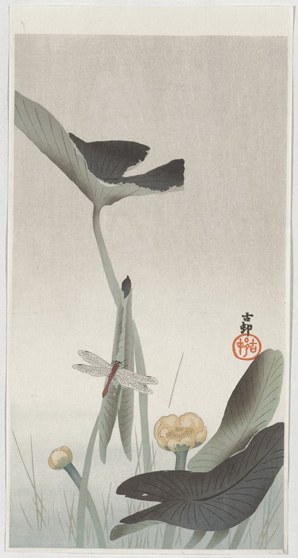 brown dragonfly with grey wings at bottom left of center, perched on a lotus leaf; yellow lotus flower and bud and bottom; large leaf above dragonfly; two black characters and red seal near right edge, LRQ