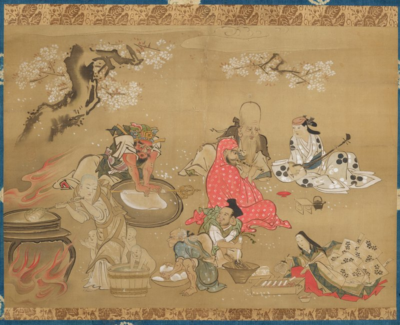 figures preparing food and playing musical instruments; blooming cherry tree at top; figures clockwise from LLC: bald monk accompanied by three nude little boys, stirring a pot on a flaming brazier, with a barrel; red-skinned man wearing colorful headdress rolling dough (?) over a gold staff; bald man with a very tall forehead accompanied by man wearing a red and white cloth over his head and body, playing a recorder-type wind instrument and woman in grey kimono with black and white dots playing a lute; woman wearing flowing floral kimono fanning skewers on a small grill; man wearing green garment shredding a white vegetable over a cone-shaped bowl; scowling man with white hair wearing a grey-blue garment squatting with a bowl of white round balls