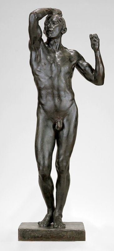 standing male nude; represents man awakening to a fuller comprehension of his physical powers
