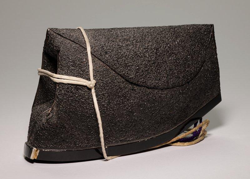 Hat, Priest's, black; belongs with yellow silk brocade Priest's robe. (14.86a)