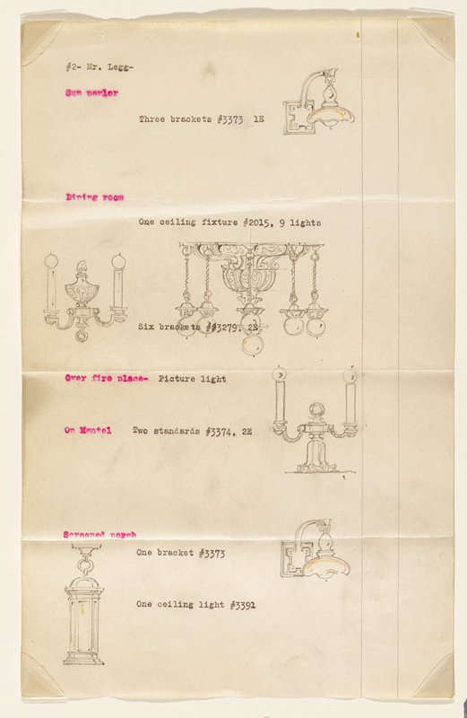 Page 2 of proposal for lighting fixtures for the residence of H.F. Legg, Minneapolis, by John S. Bradstreet & Co., Minneapolis. Typewritten descriptions and numbers and graphite drawings of lighting fixtures.