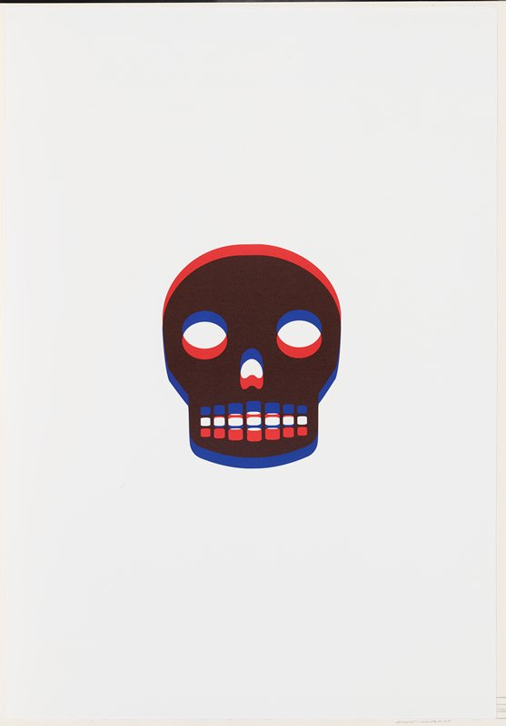 stylized image of skull; red, brown and blue