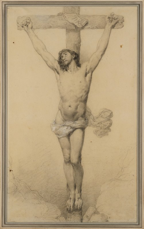 Christ on the cross in controposto pose, wearing crown of thorns and a small bit of flowing drapery; Christ looks upward toward PR; arms upraised; feet nailed separately
