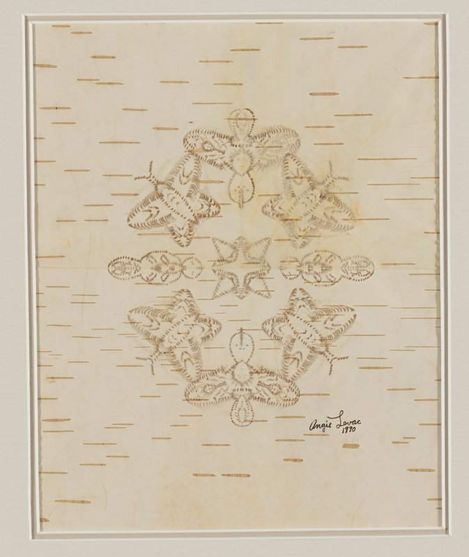 thin layer of birch bark with symmetrical design with two birds, four butterflies and two worm-like creatures surrounding a starburst