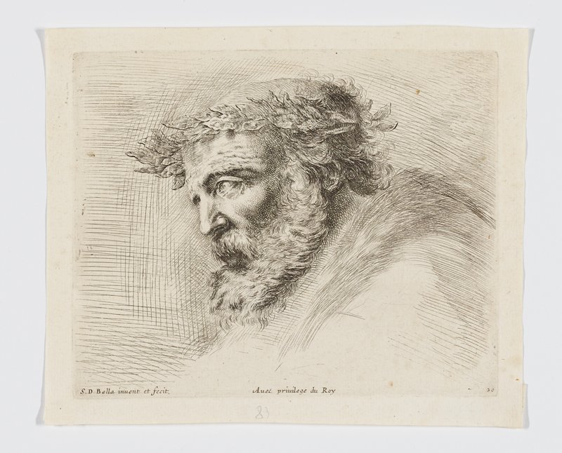 head of an old man with curly hair in profile from PL, wearing an acanthus leaf crown