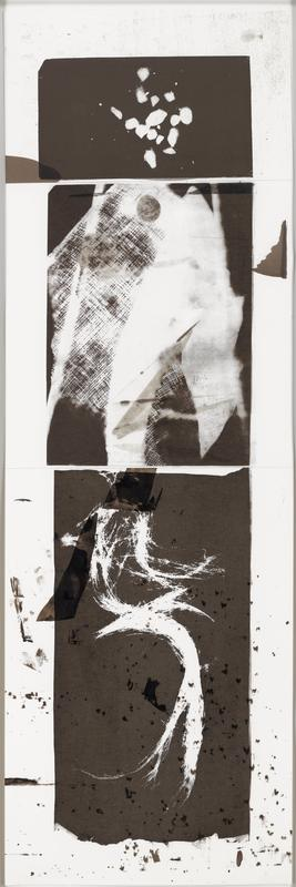"Unique monoprint screenprinted by the artist using asphaltum on paper with hand-applied asphaltum on three sheets of paper cut and hinged by the artist. Multiple monoprints were made using shared screens for printing and joined in various combinations, all entitled ""Niet Voor Kinderen."""