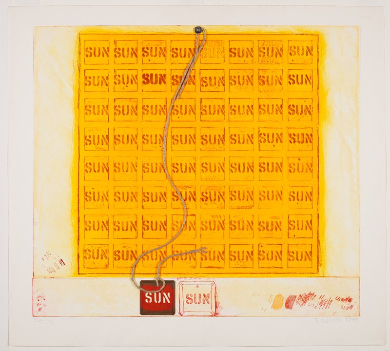 """orange ground with eight by eight grid of squares in red, each with the word """"SUN"""" in stenciled red letters; piece of twine attached at top center with a silver metal button-like clip and attached at bottom left with square of metal with red pigments surrounding punched-out stencil letters spelling """"SUN""""; linearly-drawn copy of metal square to right; notes and marks in print in lower corners in red and orange"""