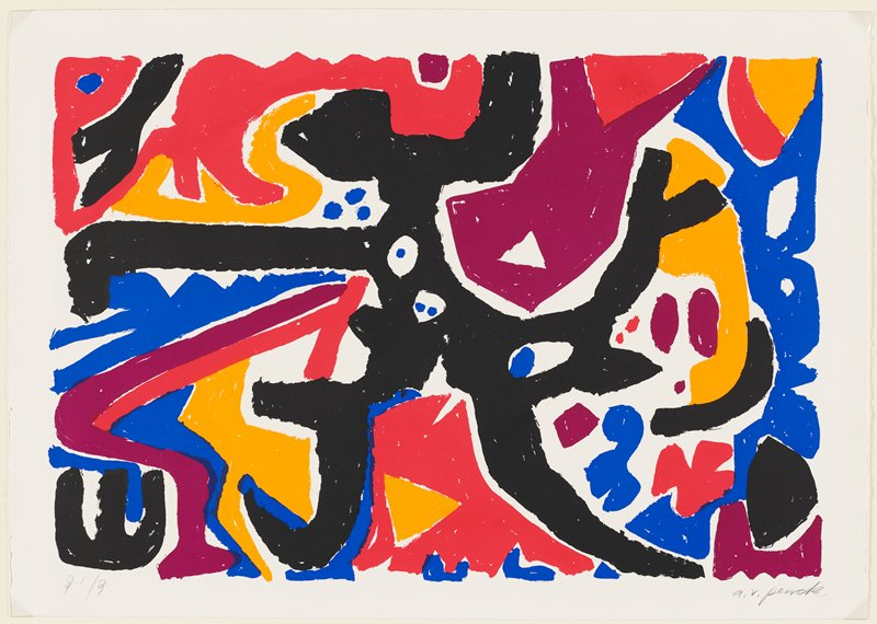 abstract image; printed in five colors--black, orange, red, purple and blue; black form at center extending outward; some blue spots around center; curving forms; painterly style