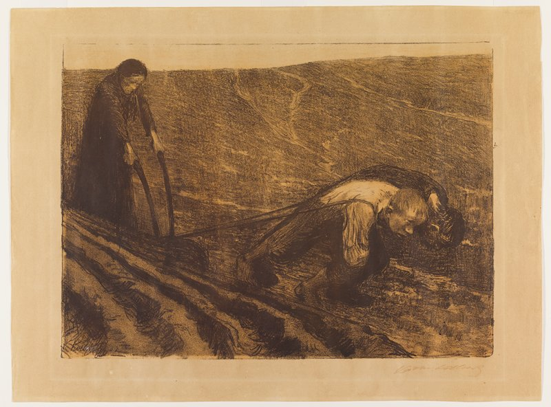 woman in ULQ weraing a long dark dress at a plow pulled by a young man and an older man in LRQ