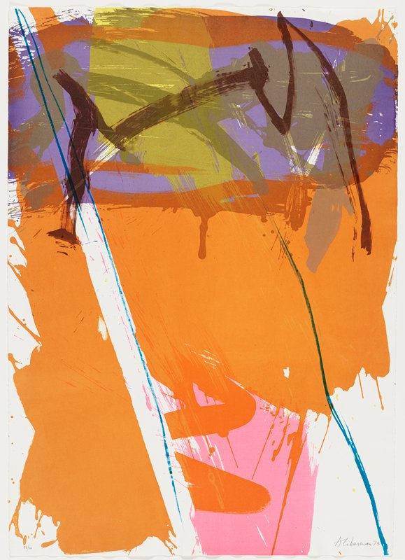 abstract image with painterly lines and swaths of color--primarily orange, with pink at bottom--purple, olive green and brown at top