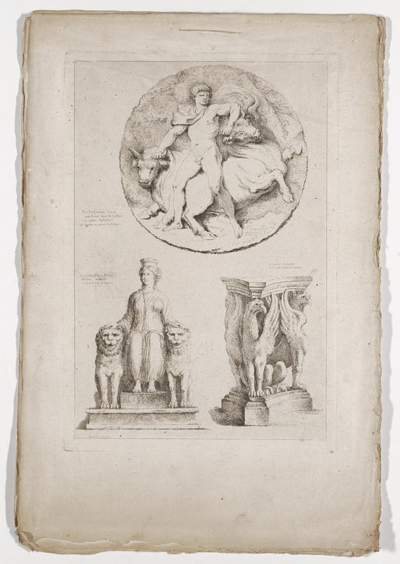 three images (clockwise from top): nude man with a drapery tied around his neck wrestling with two bulls, columns in the form of griffons, seated woman wearing a crown and draping garment flanked by two lions; 2016.106.4.1-6 received bound together (stitched at top with string)