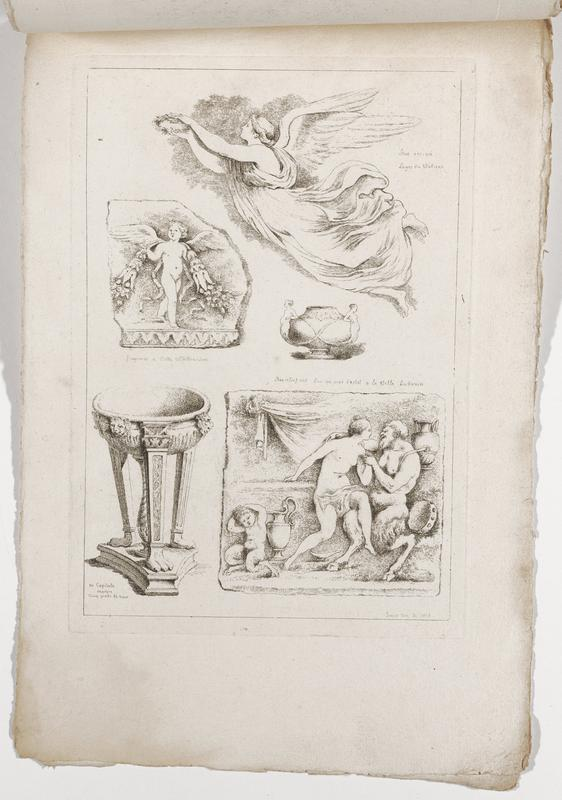 five images (clockwise from top right): winged woman wearing flowing garment holding a laurel crown, pot with pair of high relief handles in the form of nude females, satyr with a tambourine embracing a woman with a drapery across her lap and a satyr child in lower right, basin with tapered column legs with paw feet and lion's heads, standing winged putto with garland of fruit with ribbons; 2016.106.4.7-12 received bound together (stitched at top with string)