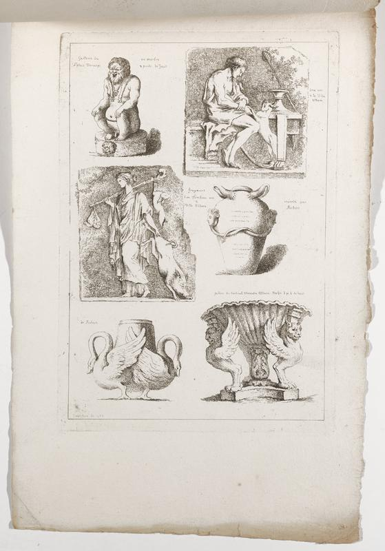 six images (clockwise from top right): seated man in profile from PR with a goat on its back legs, vessel with pair of high relief heads, scalloped vessel with pair of animal supports with lions' heads, wings and a single paw foot, vessel with pair of swans; female figure with staff over her PR shoulder with hare and pair of birds on her staff, dragging a boar in her PL hand, seated pot-bellied nude male figure with his hands on his knees and a lion's head on base; 2016.106.4.13-18 received bound together (stitched at top with string)