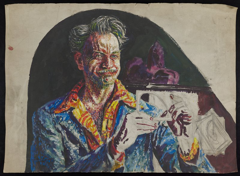 portrait of man gazing toward PL and holding a brush or pencil horizontally in both hands; hands and images drawn in pencil; dark background with arched boarder; abstract purple shape behind PL shoulder; pencil drawn sketches in LRC