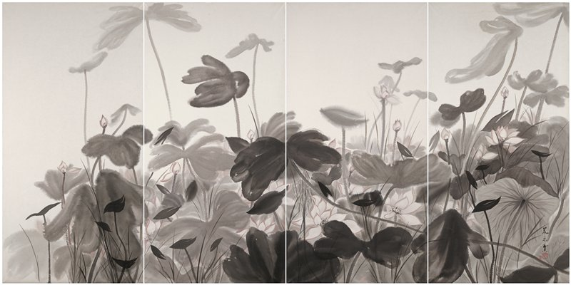 thick growth of lotus leaves rendered in gray and black; whitish lotus blossoms and buds with slight trace of pink; four large panels create the image