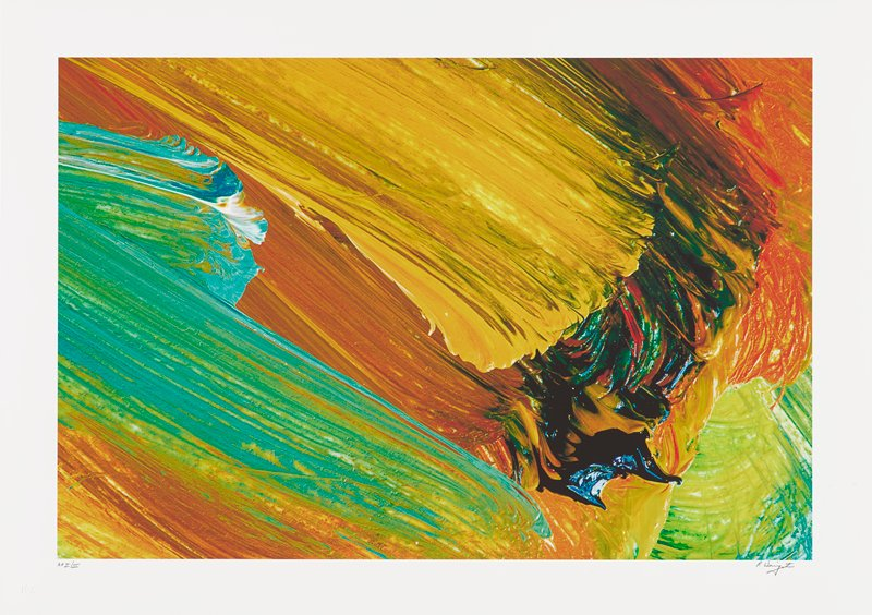 abstract image; bright multicolored pigments overlap each other in thick, diagonal bands and lines