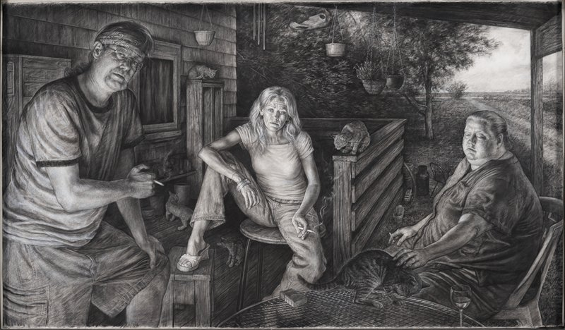 three people, smoking, seated on a porch with rural landscape in URQ; man at left wearing glasses and a bandana around his head; woman with long blonde hair at center wearing jeans and a t-shirt with legs apart, with her PR foot in a sandal on a wooden stool; older heavyset woman at right with her hair pulled back, petting a cat sitting on a table licking its paw, next to a wine glass; four other cats on porch