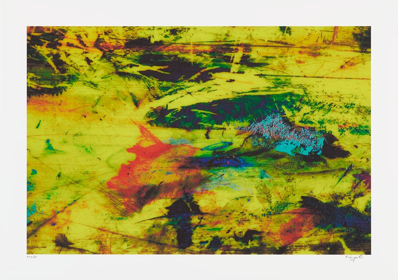 abstract image; brightly colored pigments throughout; background is mostly yellow with black sections; bright orange splatter in lower center; turquoise section in middle right; dark horizontal and diagonal lines throughout