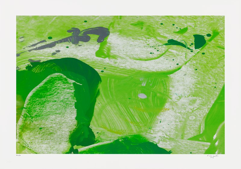abstract image; mostly green pigment smeared across whet background; dark green arch in lower left quadrant; gray blobs in upper left quadrant; dark green blobs in URC