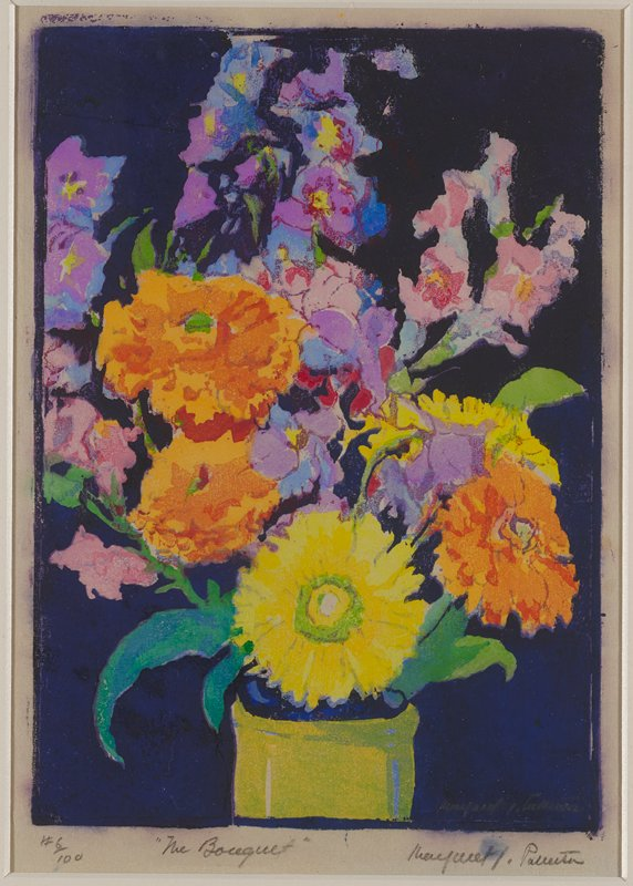 bouquet of various flowers in a green vase--only top of vase in picture plane; blue-black ground; flowers include round orange and yellow zinnia-like flowers and pink and purple tall hollyhock-like flowers