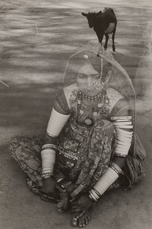 two images superimposed on each other; walking black cow at top, URQ; seated woman with PL knee drawn up, holding her bare feet with her hands; woman is wearing traditional Indian dress with two nose rings, large round earrings, necklace, head scarf, flowered garments with mirrors, toe rings and many bracelets on her upper and lower arms
