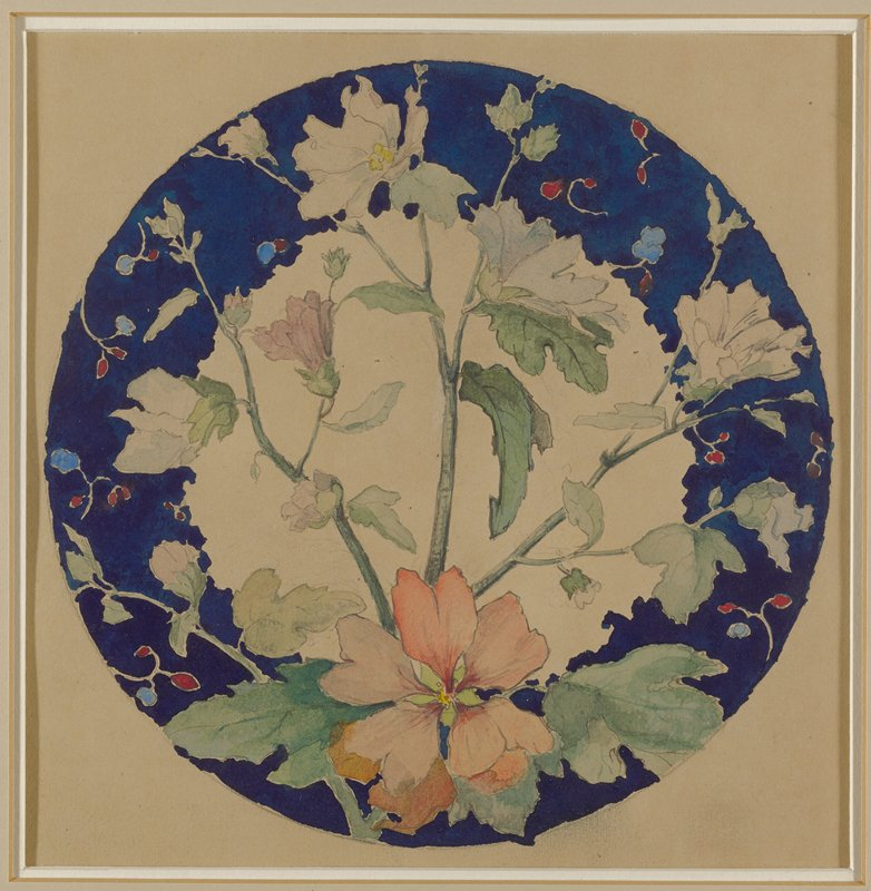 round design for a small dinner plate; dark blue around edge with pinkish-red flower at bottom center with leaves on either side; stems with leaves and white flowers extending up from bottom center flower; smaller randomly placed red and blue buds around edges