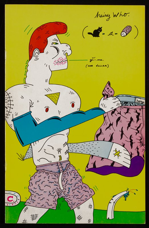 yellow cover; shirtless male figure with birdlike features wearing pink trunks stands at C holding a pair of pink trunks with black design in wing like hands