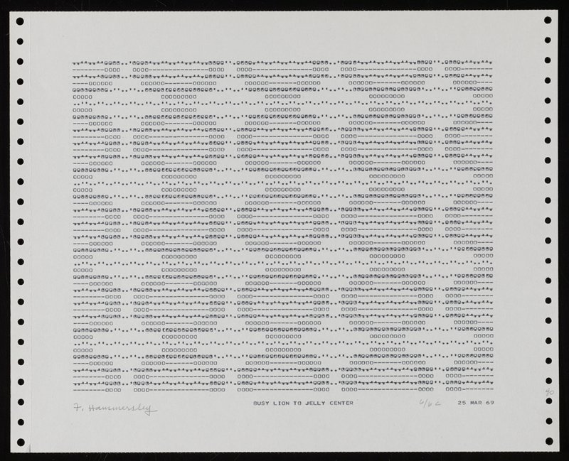 computer printed image on pinfed paper with vertical rows of holes along left and right edges of sheet; perforations on left and right edges of sheet; repeating pattern of rows and columns of circles made up of Os, apostrophes, dashes and periods
