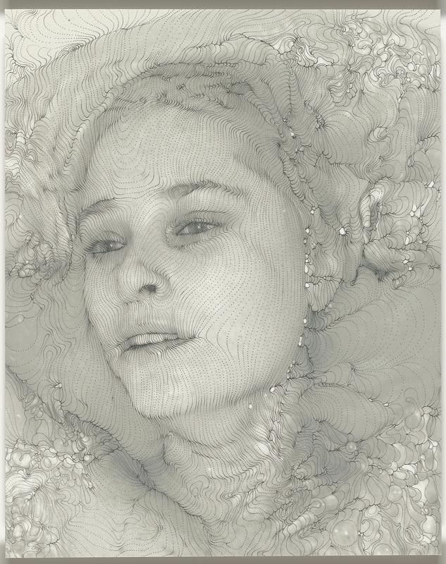 pointillist drawing of young woman's face, looking distantly to L; organically patterned background; shaded in gray tones