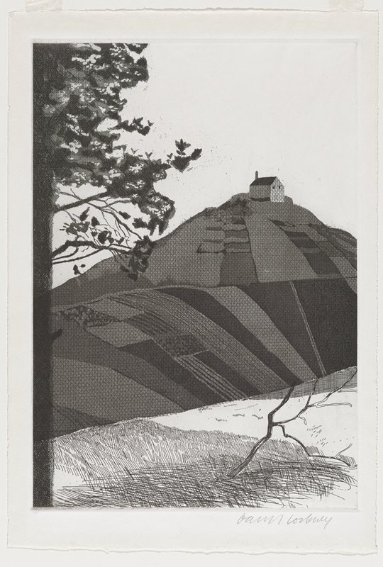 black and white etching of a landscape scene; small house on top of a rising hillside; tree on left edge; small, bare tree in LRQ