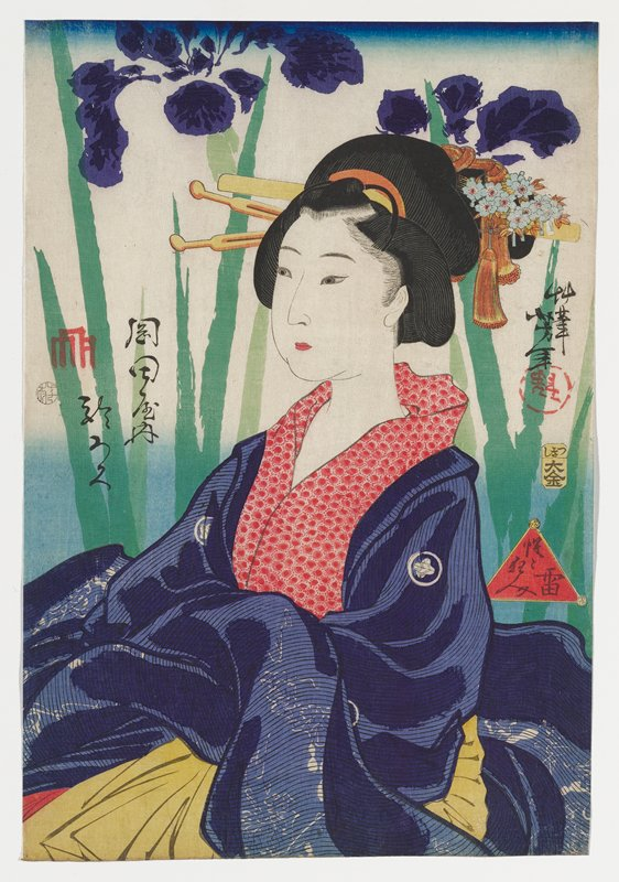 portrait of a woman looking toward left, with full cheeks; woman wears purple kimono with white floral circles and red circle patterned collar with yellow undergarment visible at bottom edge of image; woman's hair ornaments have blue flowers and gold tassels; very large, slightly abstracted purple flowers with leaves and stems in two shades of green behind woman