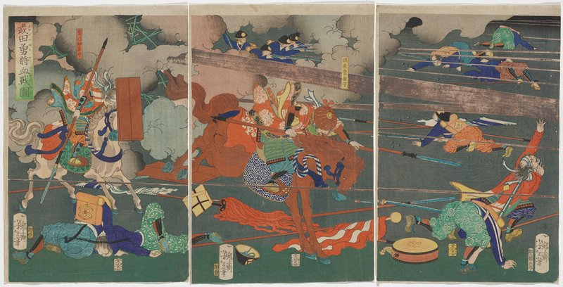 three separate sheets; battle scene with blue cannon with black wheels and base at center; pink and grey lines of cannon and rifle fire horizontally across picture plane; figures wearing purple blouses, lying on their stomachs, shooting rifles, at top right; three men in LRC firing cannon, with another two men at front tof cannon; running figures in LRC; two fallen men in LLQ, with white flag with red design on ground; white clouds of smoke coming from cannon; this triptych is right side of a continuous image with six sheets, along with 2017.106.75a-c