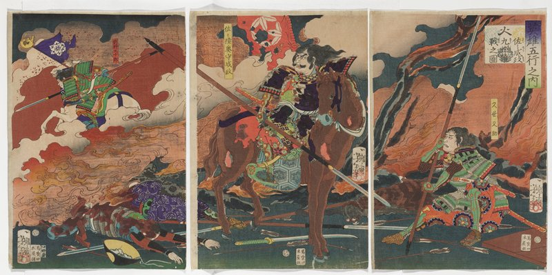 three separate sheets; orange and white smoke in middle ground; man in green armor at right in background riding white horse, with purple flag with white flower; two dead men in LLC; man with long hair and full face on a brown horse at center, with a long spear and a torn red flag; figure in green armor at right