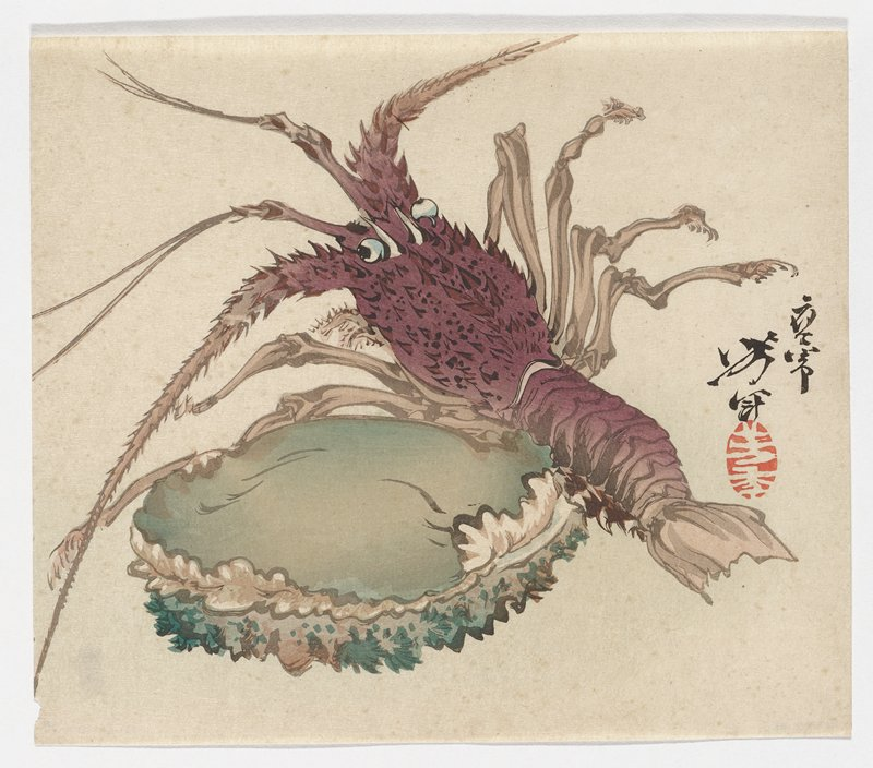 """green abalone in LLQ; reddish-brown lobster with blue eyes at right; tan label on back at LRC with Japanese characters and """"28"""""""