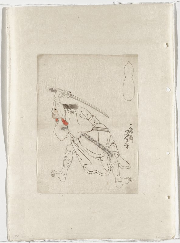 drawing in black ink with touches of red and salmon pink on thin paper, mounted onto off white backing sheet; man with bare legs apart, wearing kimono with floral medallion on PL shoulder, with sword held over his head behind his back, with a grimacing expression; gourd-shaped cartouche in URC