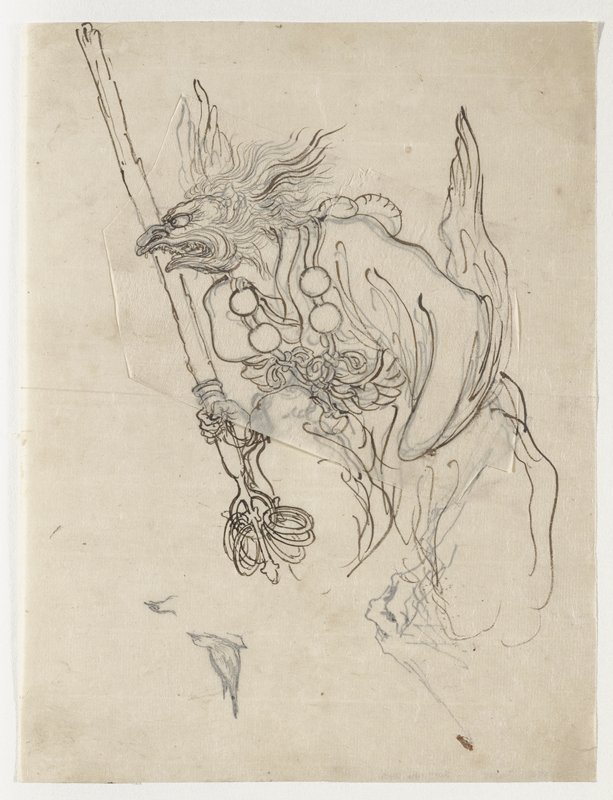 figure with human body and rather bird-like facial features, with elongated beak-like mouth with teeth, long flat nose and bulging eyes, with feathers/fur on top and head and flowing backwards from sides of head; sketch of head, body and arms of figure, wearing a necklace (?) with four large balls and bows, and holding a staff with rings at bottom in PR hand; verso: sketch of small bird and head of a bird in LRQ; unsigned