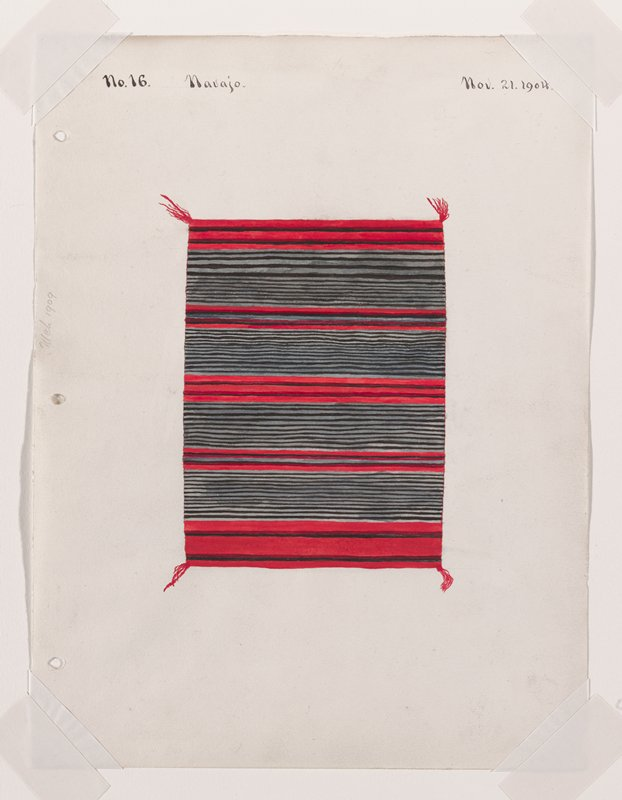 depiction of a textile with close black and gray stripes separated by wider bands of red; red tassels at corners