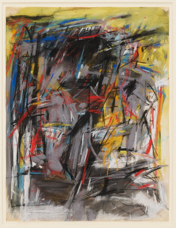 highly abstract image; gray and black charcoal background, scribbled and smeared; overlapping scribbled pockets of yellow, red, green, blue; paper inherently crumpled