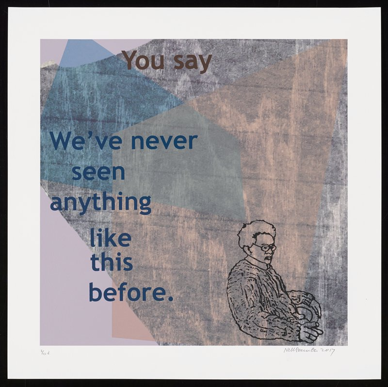 cartoonish elderly figure seated on chair facing L at LRC; grainy wood-grain background in gray, with overlapping transparent peach and blue shapes; text reads: You say / We've never / seen / anything / like / this / before.