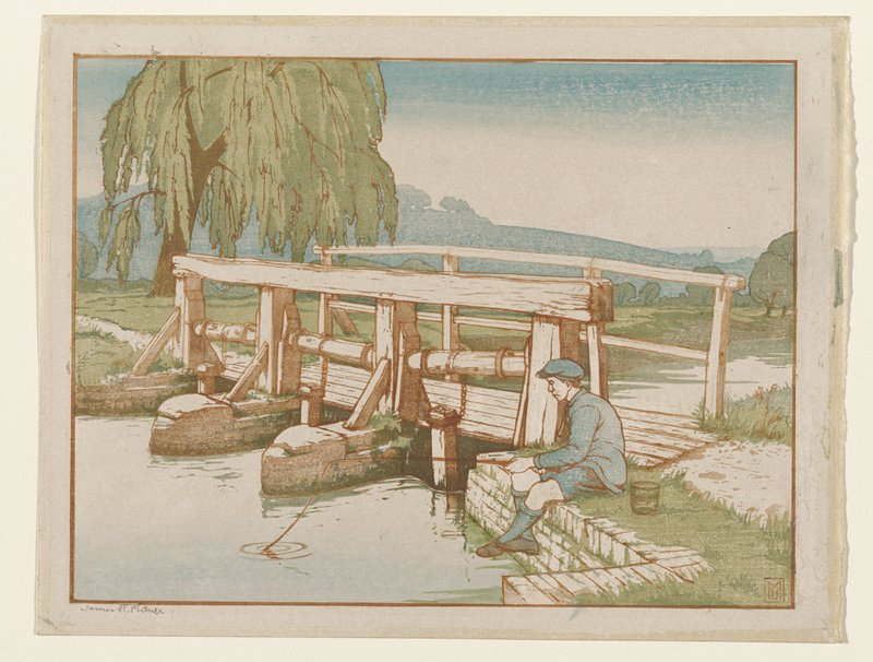 young man wearing blue outfit of short pants, shirt, tall socks and cap seated near a wooden bridge, fishing; bridge at center of image; weeping willow tree in ULQ