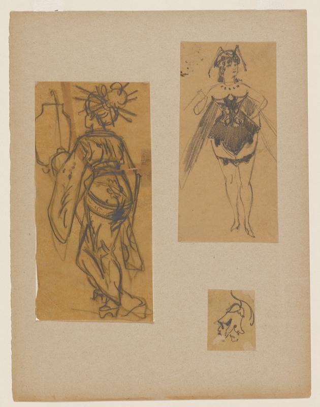 three figure drawings adhered to a sheet of paper: a. image of a female figure, backing facing outward, wears Japanese-style robe with hair in a high bun; vase in ULQ b. single female figure in a corset, wearing a headpiece and long stockings c. single flower hanging from thin stem
