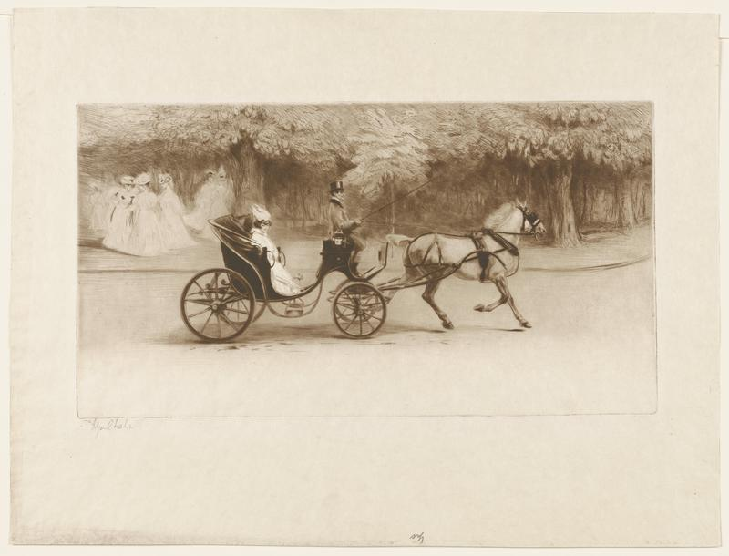 image of a horse drawn carriage driven by a man wearing a top hat; female figure with dark hair, wears a white cloak and hat rides in carriage; group of female figures in ULQ; trees clustered in the background