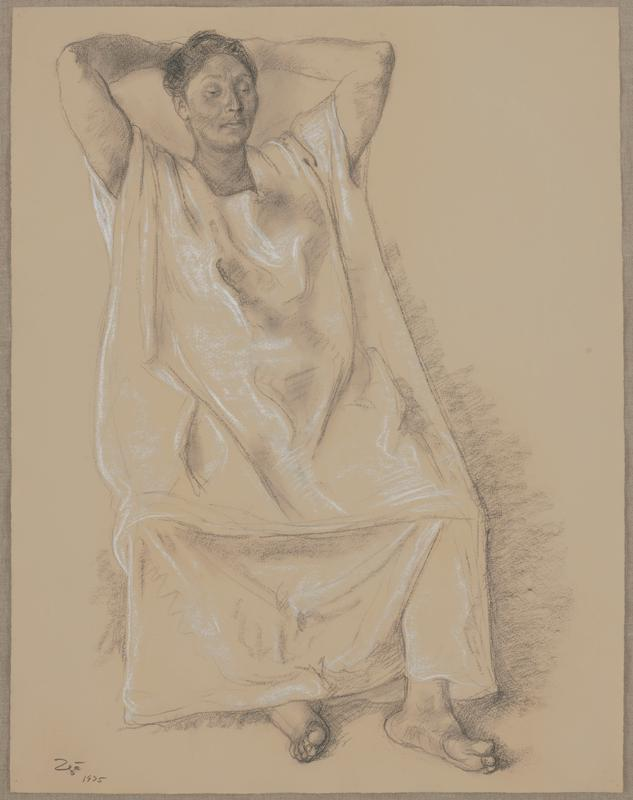 image of a woman wearing a long, draping garment; rests with hands behind her head, gazing downward; bare feet
