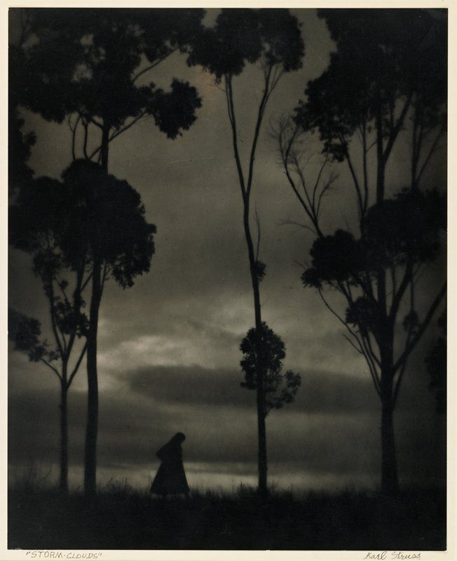 previously listed as a gelatin silver print; figure and four trees, silhouetted against stormy sky