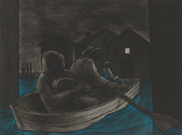 four shadowy figures in rowboat with buildings in middle ground, with a square white window in building at right; blue water