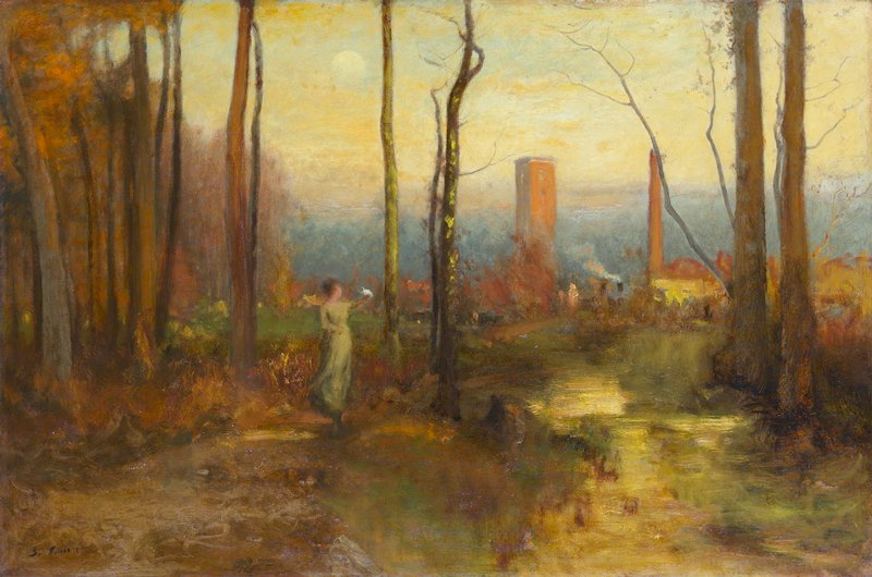 Landscape. girl on left bank of stream, which flows down to foreground; two tall trees at right; factory chimney and houses behind a forest in the background