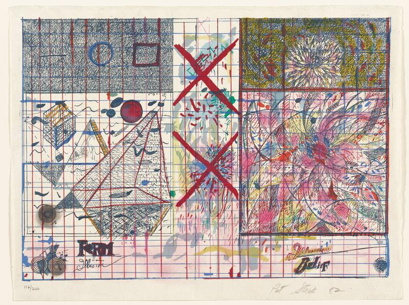 """abstract image; blue and pink irregular gridlines throughout; colorful, with pen and ink drawing-like marks; two bold red Xs at center with flowers and small marks behind them; shaded-in rectangles in top corners; flower form in URC; large abstracted colorful flower form at left center; triangular and cube forms at left center; some pink washes in inverted T shape at bottom and center; """"FORM"""" and """"Illusion"""" in LLC; """"Illusion"""" and """"BELIEF"""" in LRC"""