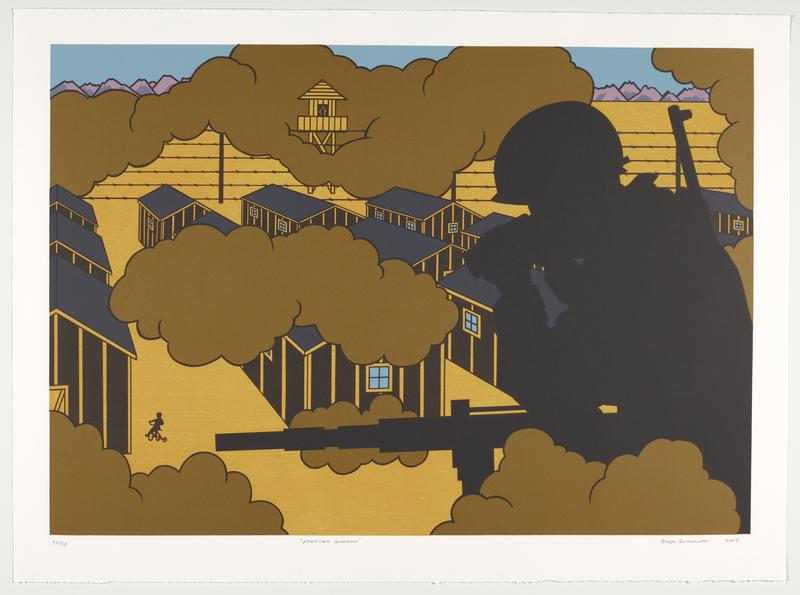 silhouette of soldier with guns wearing a helmet and looking through binoculars at right; black and yellow striped houses with blue windows on yellow field, with silhouette of child riding a tricycle in LLC; barbed wire around houses; lookout tower at top left of center; brown-gold smoke clouds