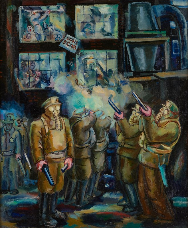 """men wearing khaki colored uniforms, elephant-like gas masks, and black boots in foreground in two lines--some shooting guns upward toward ULC, and other shooting toward a building in background with four window, with yelling people inside; sign--""""DONT SCAB""""--between windows; large ducts and tanks in URC; dark blues in background"""