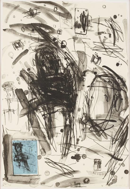 "thick black abstract scrawling marks throughout, with a large cluster of marks in drop and rectangular shape to left of center; dotted splotches with darkened outlines throughout, broad thick brushstrokes with semi-transparent watercolor appearance; box shapes filled with circles; blue rectangular map covered with black scrawl marks in LLC; ""NIGHT"" written in LRC, above map and near URC; rough edges around paper"